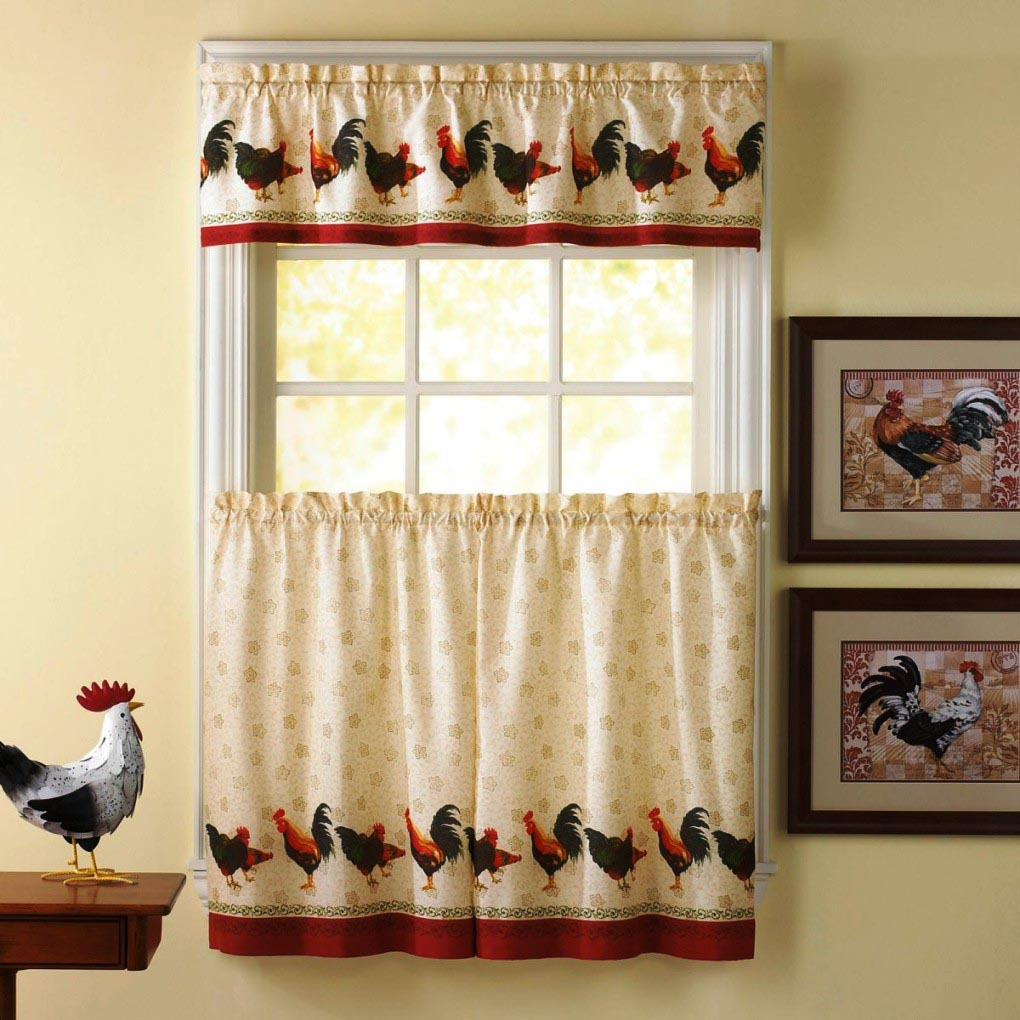 French country curtains with animal motifs