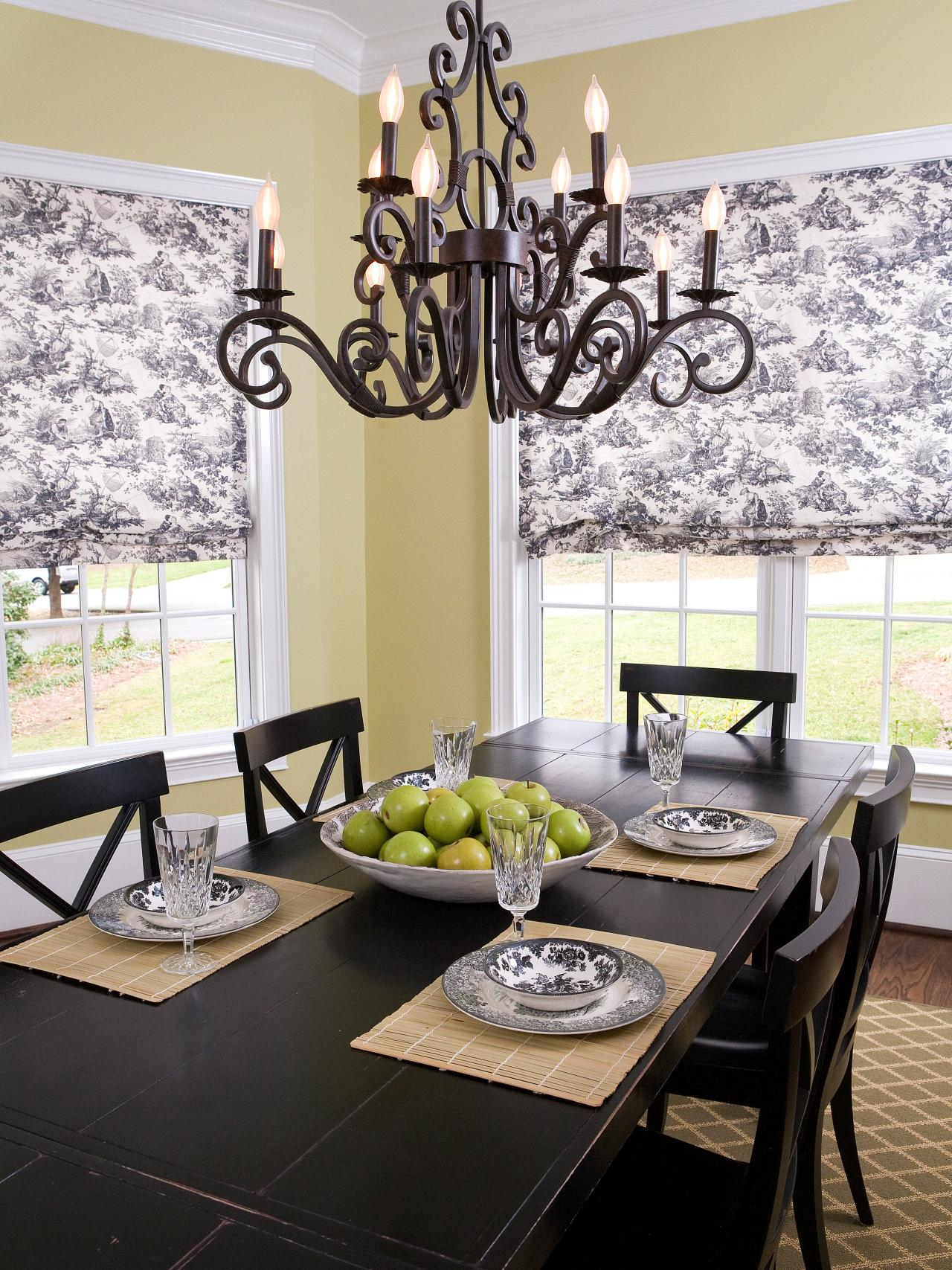 French country refinement with toile Roman shades