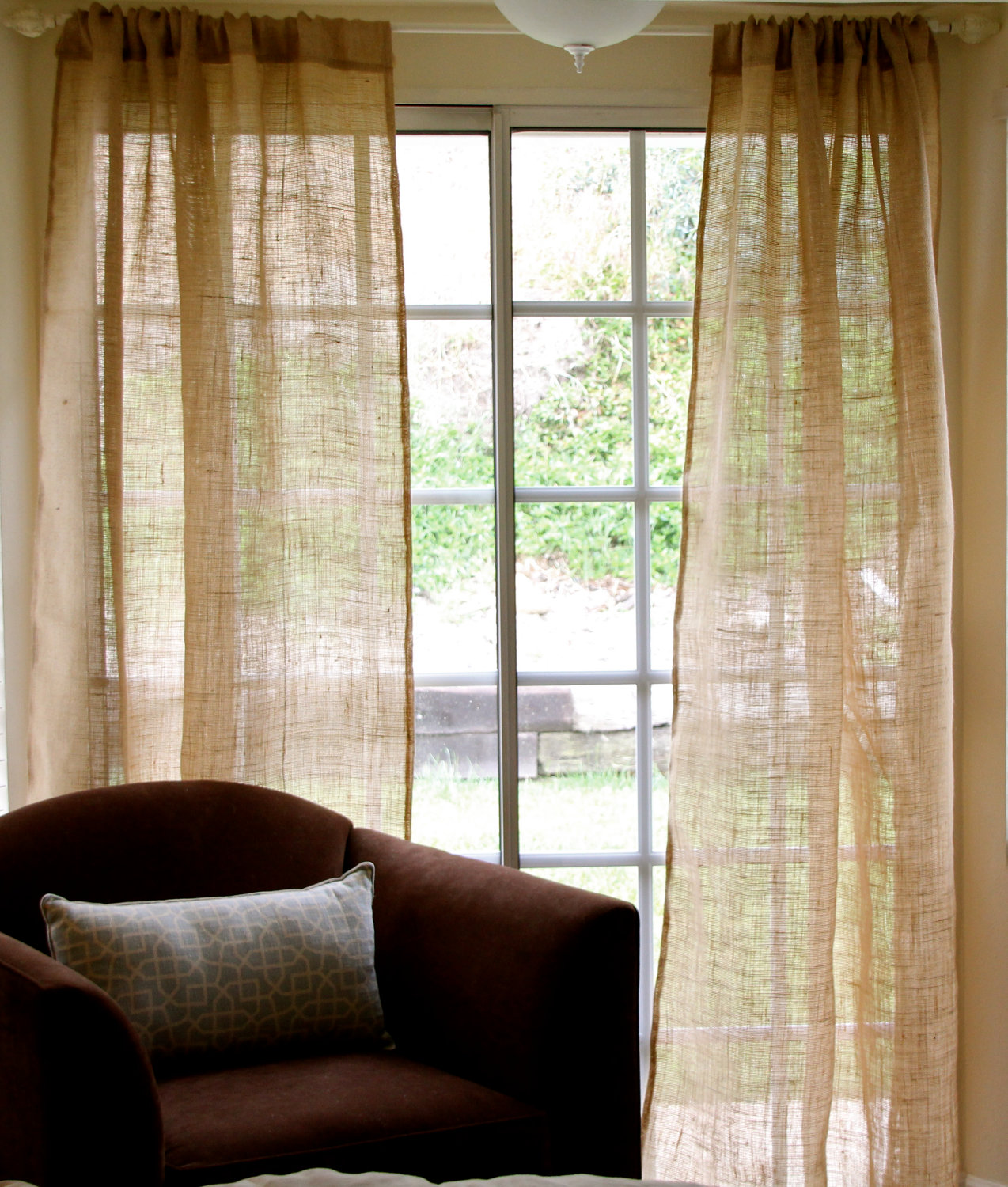 Burlap window treatments - No Sew Burlap Curtains