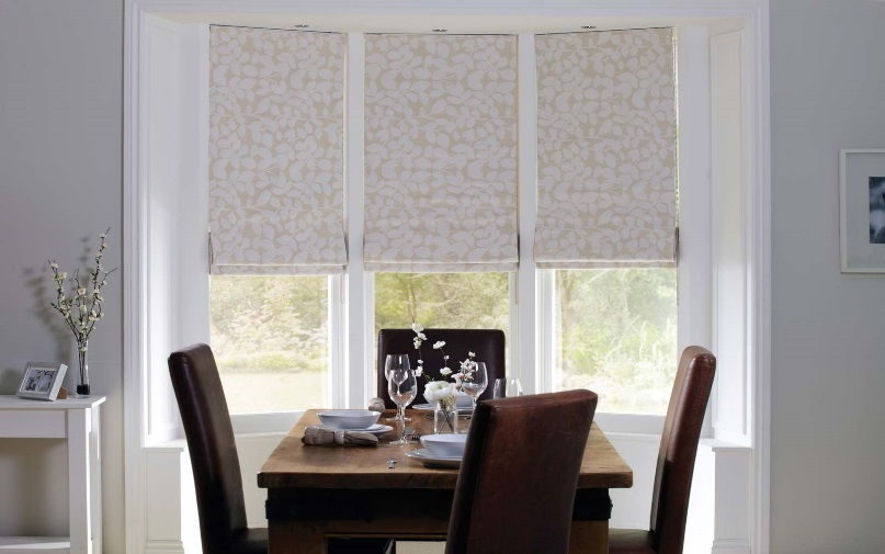 Bay Window Patterned Roman Blackout Shades
